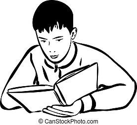 男孩讀, 書, outline