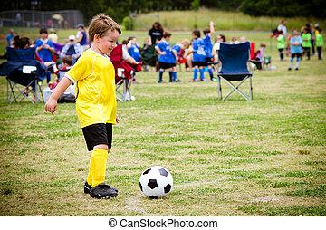 男孩, 同盟, 組織, 年輕, 游戲, 孩子, 在期間, 足球, 玩