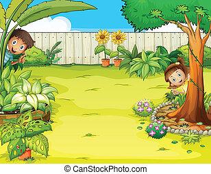 男孩, 女孩, 花園, 隱藏