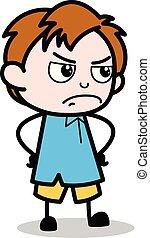 男孩, 學校, 字, 憤怒, -, 插圖, 矢量, 卡通