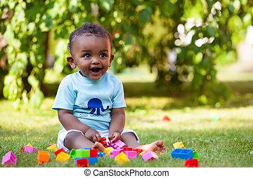 男孩, 很少, 美國人, african, 嬰孩, 草, 玩