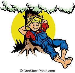 男孩, 樹, 休息, 在下面