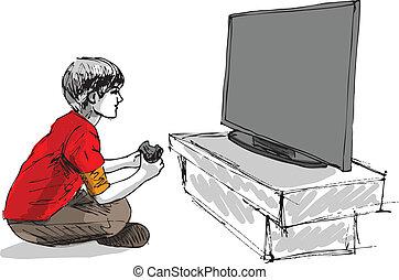 男孩, 游戲, 電腦, 玩