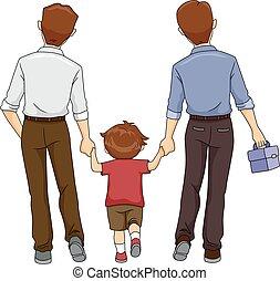 男孩, 父親, 孩子, 二, 步行