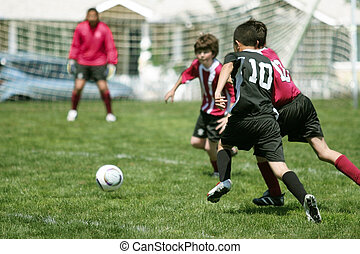 男孩, 足球, 玩