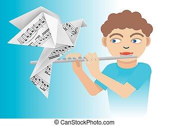 男孩, 長笛, 鴿, origami