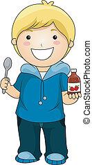 男孩, 顯示, 糖漿, 維生素