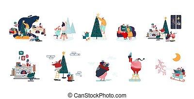 男性, 字符, 準備, 裝飾, 聖誕節, 假期, 愉快, 慶祝, 年, 冷杉 樹, 女性, 集合, 家庭, 新