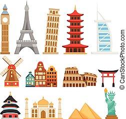 界標, 漂亮, 在上方, 世界, 矢量, 集合, 建筑物, 全部