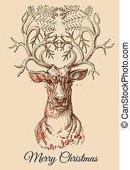 略述, 矢量, 鹿, 聖誕節, 插圖