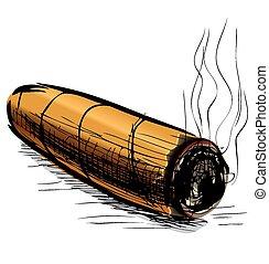 略述, 矢量, 點燃, 插圖, 雪茄