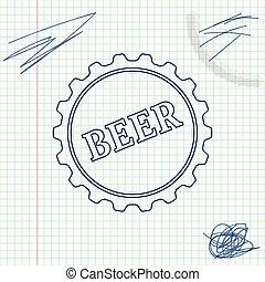 略述, 詞, 帽子, 被隔离, 插圖, 背景。, 啤酒, 矢量, 瓶子, 線, 白色, 圖象