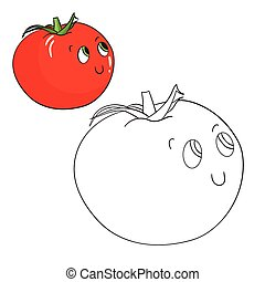 番茄, 教育, 著色, 矢量, 游戲, 書