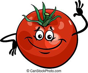 番茄, 漂亮, 蔬菜, 卡通, 插圖