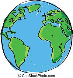 畫, 手, 地球