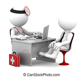 病人, 辦公室, 醫生, 醫學, 談話, consultation.
