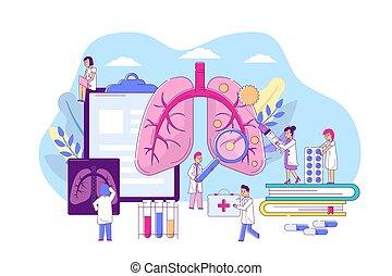 病症, 專業人員, 醫生。, 疾病, 呼吸, 器官, 肺, 治療, 矢量, 診斷, 醫學, pneumonia, illustration.