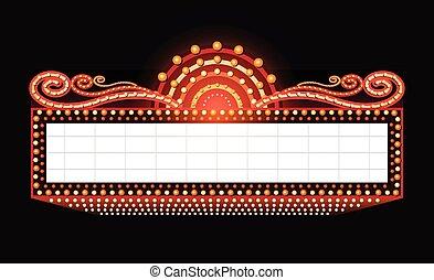 發光, 明亮地, 電影院, 簽署, 劇院, retro, 氖
