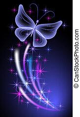 發光, 背景, 蝴蝶