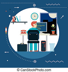 發展, 网, 概念, 背景, 套間, 時髦, 符號, 現代, 編程, 插圖, 矢量, 設計, 工作, 樣板, 書桌, 家, 程式員, 工作, 圖象