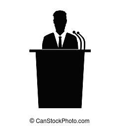 發言者, 矢量, 黑色半面畫像, 談話