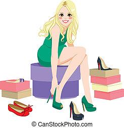 白膚金髮, 嘗試, 女孩, 鞋子