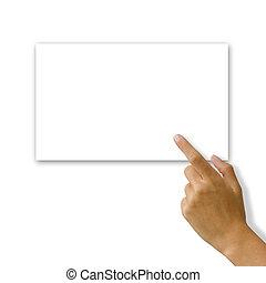 白色, 婦女, 卡片手, 寫