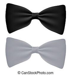白色, 矢量, 黑色, 被隔离, 鞠躬栓