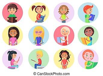 白色, 顏色, 女孩, 男孩, 圖象, 閱讀