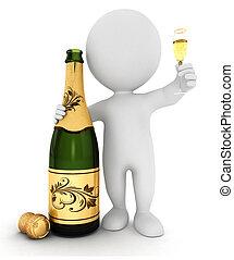 白色, 香檳酒, 3d, 人們