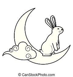 白色, 黑色的雲, 兔子, 月亮