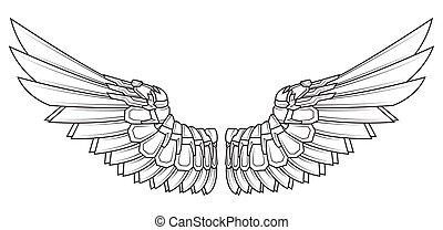 白色, 黑色, 翅膀, 卡通
