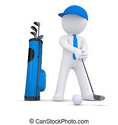 白色, 3d, 高爾夫球, 玩, 人
