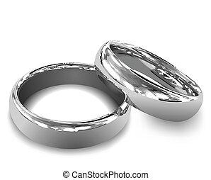 白金, rings., 矢量, 插圖, 婚禮
