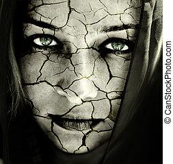 皮膚, 被爆裂, 婦女 面孔