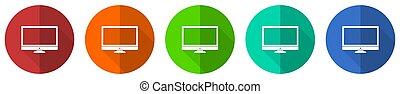 監控, 插圖, 圖象, 綠色, 集合, 背景, 白色, 套間, 按鈕, 矢量, 設計, 屏幕, 橙, 電腦, 顯示, 网, 藍色, 紅色, 被隔离