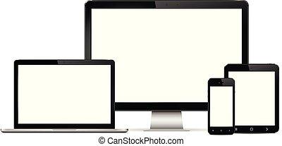 監控, 片劑, 流動, 屏幕, 現代, 膝上型, 電話, 電腦, 數字, 空白