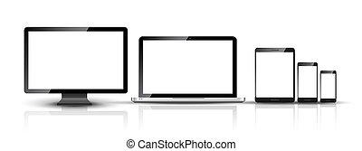 監控, 集合, 小塊pc, 流動, 膝上型, 電話, 電腦, 數字的設備, smartphone, 聰明, design.