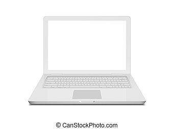 監控, technology., 膝上型, 現代, 被隔离, 筆記本電腦, 設計, white., 鍵盤, 白色的屏幕