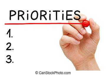 目錄, priorities