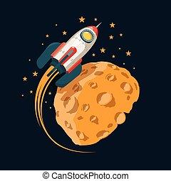 相象, 行星, 火箭, 月亮, 軌道, 空間