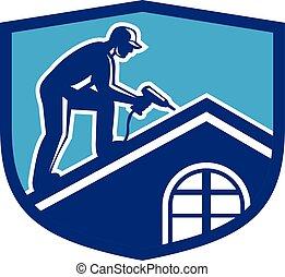 盾, 工作, 工人, 建設, retro, 屋面工