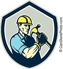 盾, 建造者, 木匠, retro, 藏品, 錘子