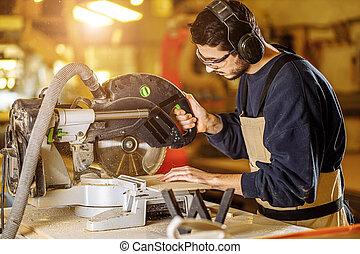看法, 邊, 集中, woodworker, 工作台