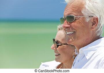 看, 夫婦, 熱帶, 海, 年長者, 海灘, 愉快