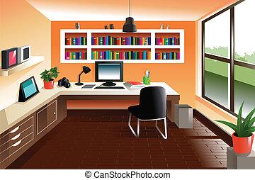 看, 現代, 工作區, 書桌