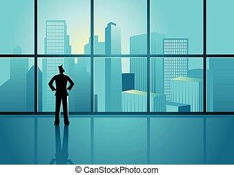 看, 都市風景, 窗口, 透過, 商人