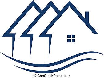 真正, 房子, 矢量, 財產, 標識語