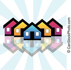 真正, 房子, 財產, 卡片, 標識語