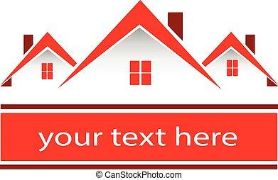 真正, 房子, 財產, 紅色, 標識語